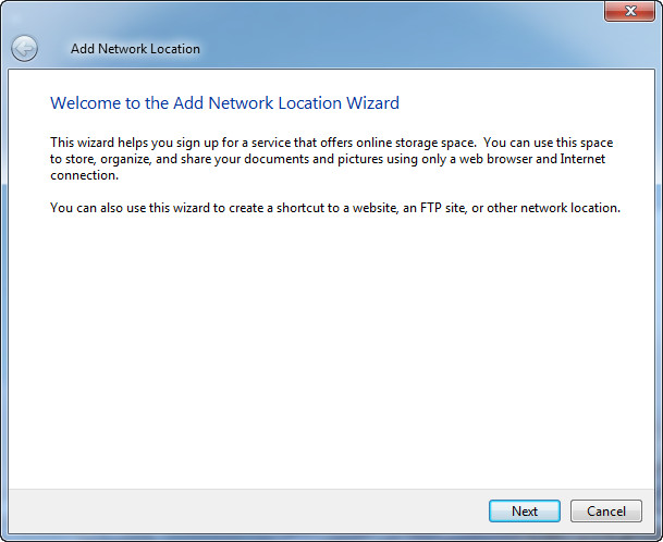 add network location step1
