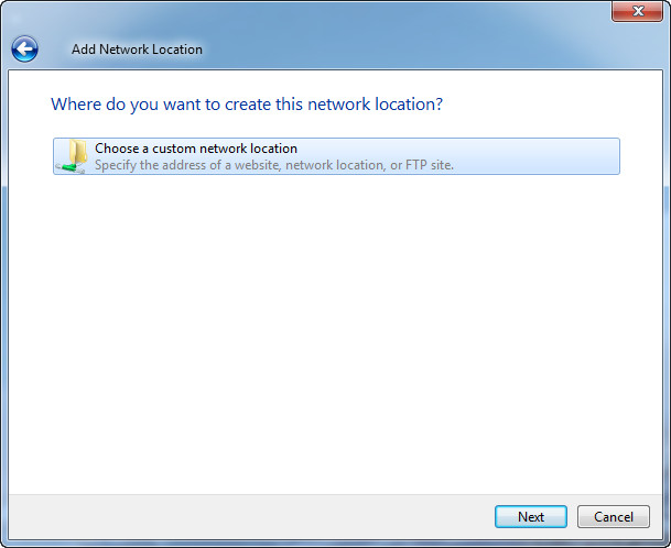 add network location step2
