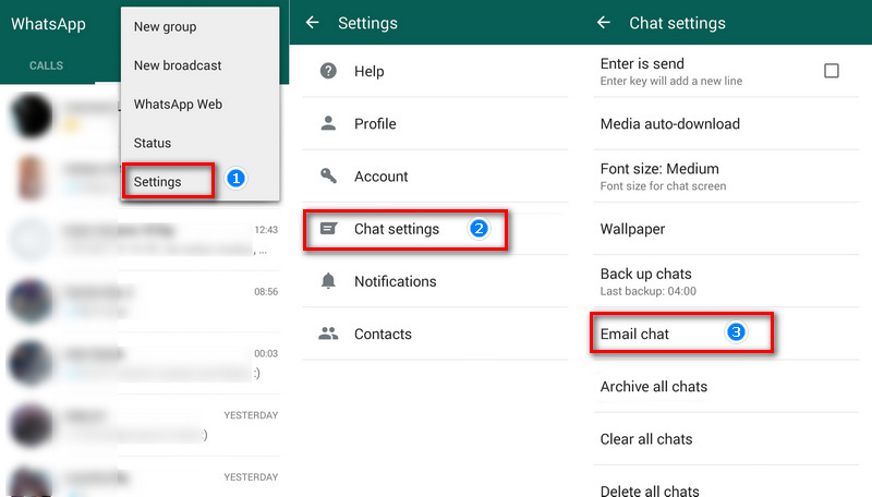 backup whatsapp chats by email