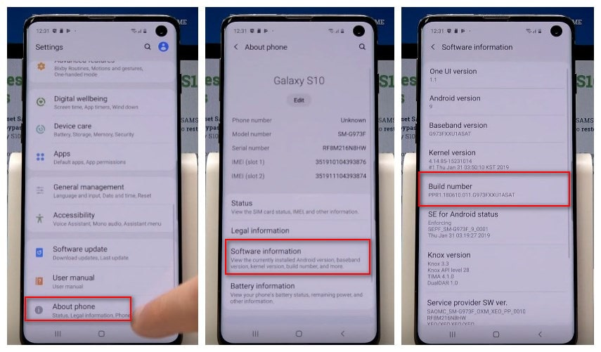 Enable Developer Option on Galaxy S10