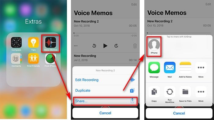 share iPhone X/XS/XR voice memos to mac with airdrop