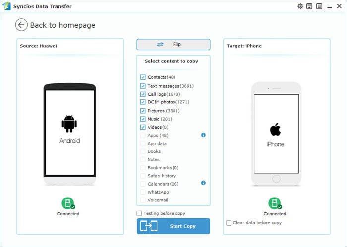 Xiaomi Mi 5 to iPhone Data Transfer interface