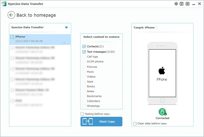restore iphone 6/6S contacts and SMS from computer with one-click