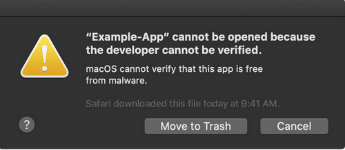 cannot open app isn't signed by an identified developer