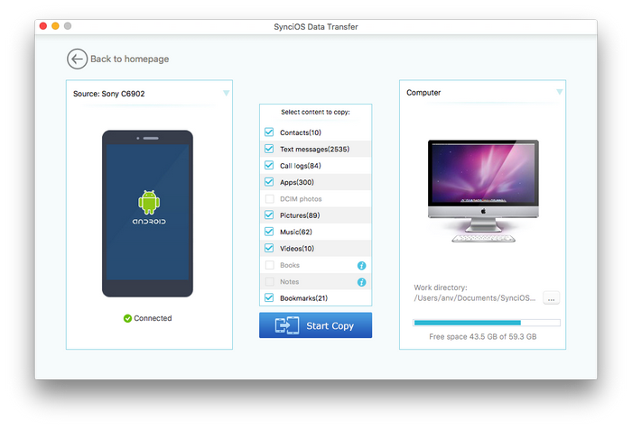 transfer android pictures to mac
